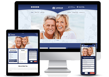 Blue Responsive Web design Example by Unique Dental Marketing
