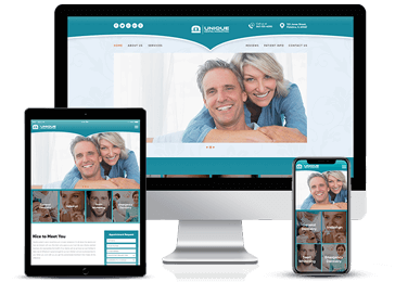Turquoise Responsive Web design Example by Unique Dental Marketing
