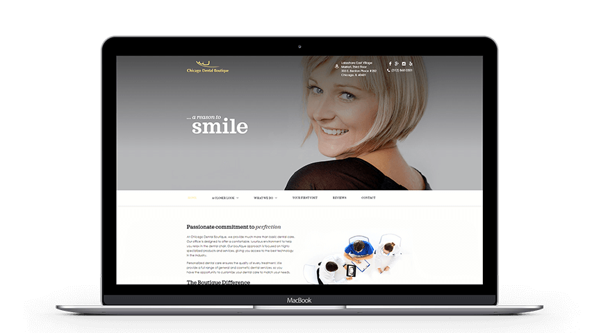Chicago Dental Boutique Desktop Website Example by Unique Dental Marketing